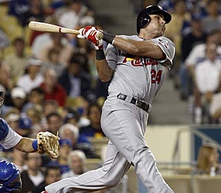 Mired in a 1-for-17 slump, Rick Ankiel hits a deciding two-run shot in the seventh inning.  (AP)