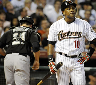 Miguel Tejada and the Astros are left frustrated all night by Florida's Ricky Nolaso.  (AP)