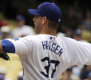 Knuckleballer Charlie Haeger earns his first major league win, allowing no runs in seven innings.  (AP)