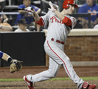 Chase Utley sends the ball out of the park for the sixth time against the Mets this season.  (AP)