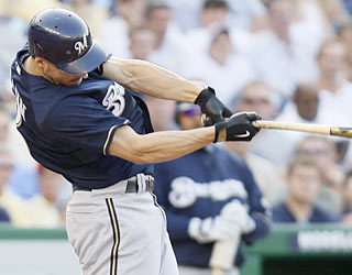 Brewers slugger Ryan Braun delivers with a two-run blast to kick off a six-run sixth inning.  (AP)
