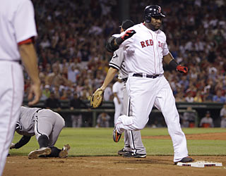 A two-out error by pitcher Jose Contreras (left) allows the Red Sox to rack up six runs in the third inning.  (AP)