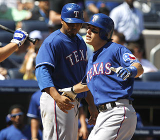 Thanks to Ian Kinsler, the Rangers become the first club to win a series at Yankee Stadium since June. (AP)