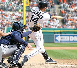 Placido Polanco turns on a Grant Balfour pitch for a three-run shot and a 4-3 lead in the eighth.  (US Presswire)