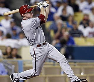 Rookie Rusty Ryal makes his lone hit of the game count, crushing a tiebreaking homer in the 10th.  (AP)