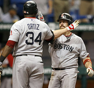 Kevin Youkilis gets some love from David Ortiz following Youkillis' 23rd homer of the year.  (AP)