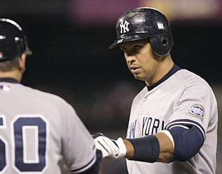 It's a big night for A-Rod, who gets his 2,500th hit, then contributes a two-run single in the ninth.  (AP)