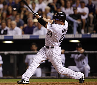 Jason Giambi follows Wednesday's two-run, pinch-hit single vs. the Mets with another one vs. the Brewers. (AP)