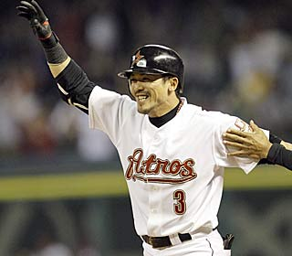 Kaz Matsui is all smiles after his only hit of the game lifts the Astros in walk-off fashion.  (AP)