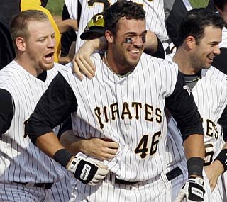 Garrett Jones hits a walk-off single to save the Pirates some major embarrassment for one day at least.  (AP)
