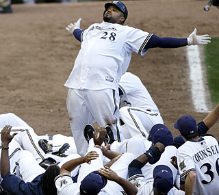 Prince Fielder is king after his solo shot in the 12th inning gives the Brewers a victory over the Giants.  (AP)