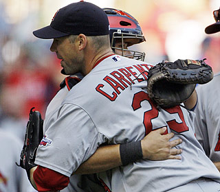 Chris Carpenter tosses his first shutout since Sept. 11, 2006, yielding just a fifth-inning double.  (AP)