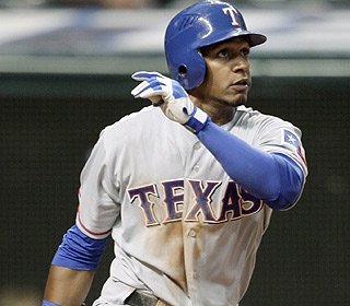 Julio Borbon watches his ninth-inning homer sail out. He has three bombs in 70 at-bats this year. (AP)