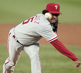 Pedro Martinez earns his 218th victory, and the Phillies improve to 6-0 this season in his starts.  (AP)