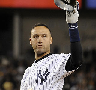 Derek Jeter acknowledges the New York crowd following his 2,721st hit as a Yankee.  (AP)