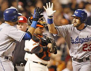 James Loney and Casey Blake combine for four hits, three runs and six RBI in the Dodgers' rout.  (AP)