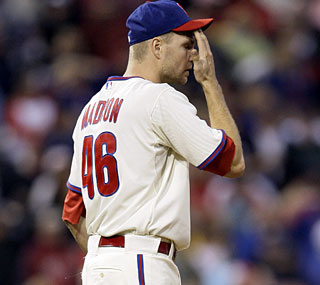 The struggles for Philly's closers continue as Ryan Madson blows his sixth save of the season.  (AP)