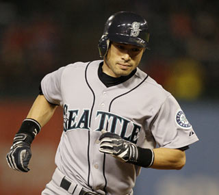 The M's Ichiro Suzuki moves within two hits from recording his ninth consecutive 200-hit season.  (AP)