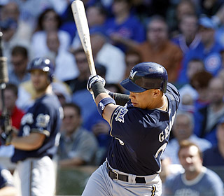 Jody Gerut puts the Brewers ahead to stay with a fourth-inning grand slam off Randy Wells.  (AP)