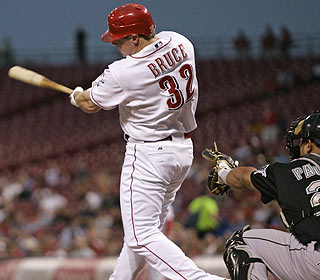Jay Bruce hits a bases-loaded single as part of a three-run first for the Reds.   (AP)