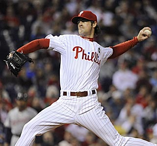 Cole Hamels, who retires his first 15 batters, might be building up toward another big October.  (US Presswire)