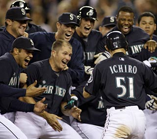 Ichiro is the hero for the second straight night with his walk-off shot against the Yankees.  (AP)