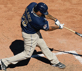 This sac fly to center field by Henry Blanco lifts the Padres in the matchup of sub.-500 squads. (AP)