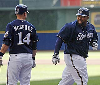 Prince Fielder is all smiles after crushing his 40th homer and later draws his 100th walk.  (AP)