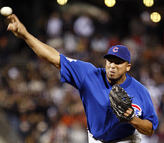 Carlos Zambrano fans nine and limits the Giants to just two hits in his first complete game this season. (AP)