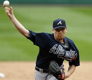 Rookie Tommy Hanson strikes out seven while giving up four hits over seven innings for his 11th victory. (AP)