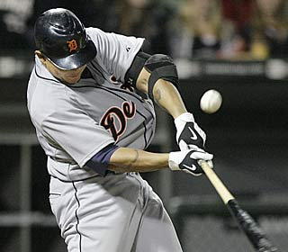 Miguel Cabrera drives in four to reach the 100-RBI mark for the sixth consecutive season.  (AP)