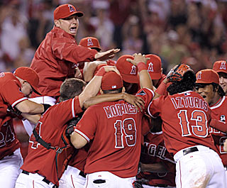 After a sometimes challenging season, the Angels let loose after clinching their division for the third consecutive year.