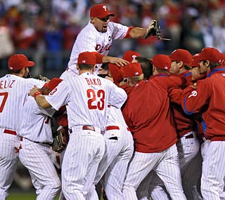 With a third consecutive division crown, the Phils are on a roll not seen in Philly since the '70s.  (Getty Images)