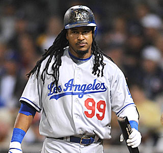 The frustration shows on Manny Ramirez's face. L.A. is held hitless in the final 8 1/3 innings.  (US Presswire)