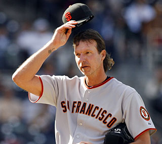 In what could be his last outing, Randy Johnson strikes out his final batter.  (AP)