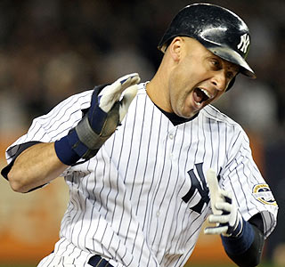 Derek Jeter plays well in the Bronx, going 2 for 2 with a homer and three runs scored.  (Getty Images)