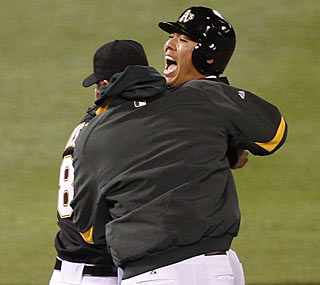 Kurt Suzuki finds himself in a familiar position as he provides his seventh career walk-off hit. (AP)