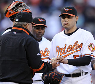 Orioles closer Mike Gonzalez is off to a horrendous start, with two blown saves and two losses this season.   (AP)