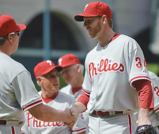 Roy Halladay improves to 2-0 after logging his second dominant start as a member of the Phillies.  (AP)