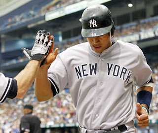 Alex Rodriguez, who drives in a pair of runs, collects his second consecutive multi-hit game.  (AP)