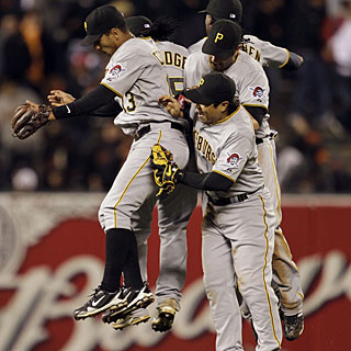 The Pirates celebrate their win after Octavio Dotel gets the last out. (AP)