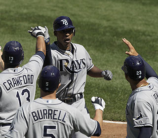 B.J. Upton finishes with four RBI as the Rays improve to their best start in franchise history at 6-3. (AP)