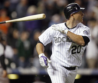 Entering the game with just one hit on the season, Chris Iannetta's (3 for 5) bat finally comes to life.  (AP)
