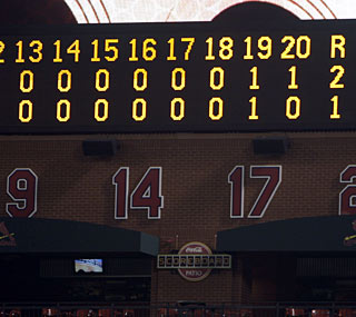 The Mets and Cardinals engage in the longest game in the majors since a 22-inning affair in 2008.  (AP)
