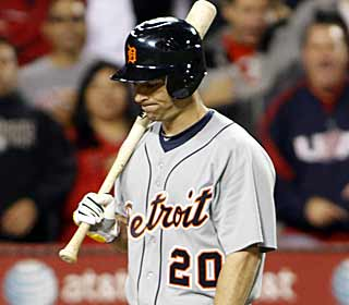 It's a tough night for the Tigers.  The Detroit hitters have no answer for Joel Pineiro. (AP)