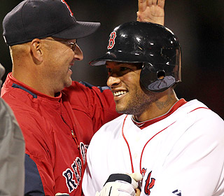 Welcome to the bigs, kid. Call-up Darnell McDonald gets a smile from skipper Terry Francona. (AP)