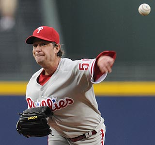 Pitching in his fourth decade, Jamie Moyer defeats Atlanta for the fifth time in his career.  (US Presswire)