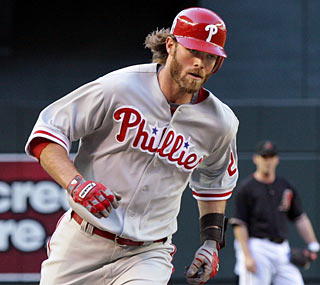 Jayson Werth goes deep two times, the second being the difference for the victorious Phillies.  (AP)