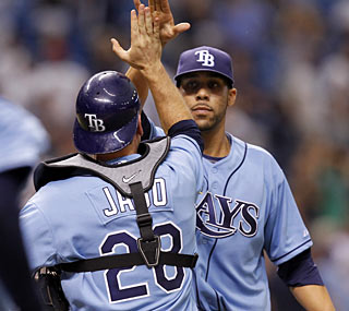 The Rays' David Price strikes out nine and walks just one during his four-hit shutout.  (AP)