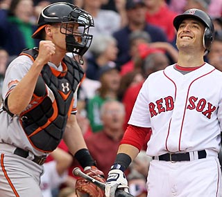 Matt Wieters and the Orioles are relieved to gain a long-awaited win against the Red Sox.  (Getty Images)